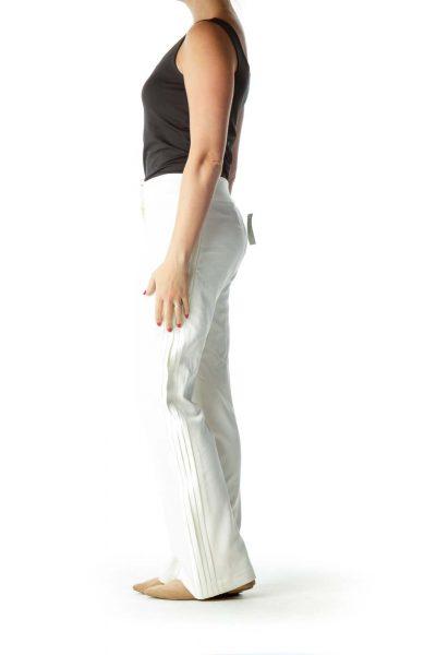 Cream Side Pleated Details Straight Leg Pants