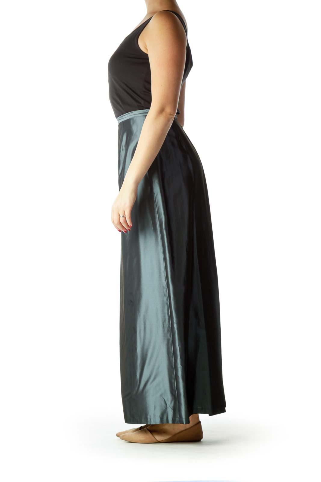 Gray Metallic Cinched Waist Long Skirt