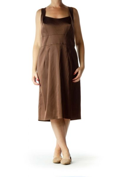 Brown Sleeveless Work Dress