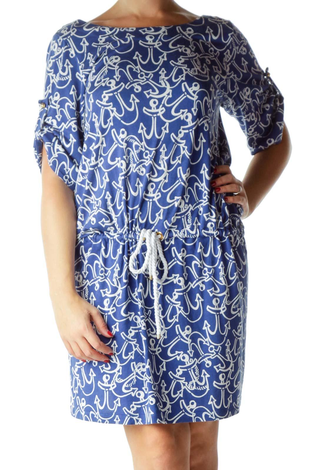 Blue White Nautical Print Day Dress