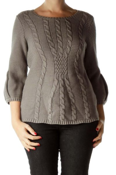 Gray Puff Sleeve Cable Knit Sweater