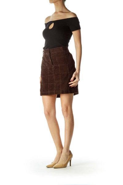 Brown  100% Cotton Corduroy Checkered Skirt