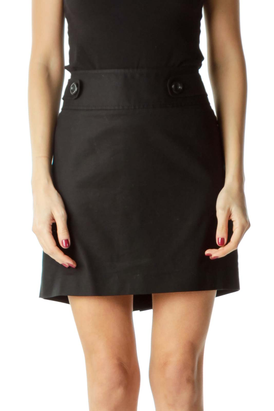 Black Mini Skirt with Slip and Waist Buttons