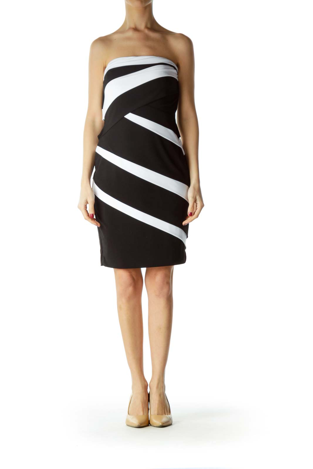 Black White Strapless Slim Cocktail Dress