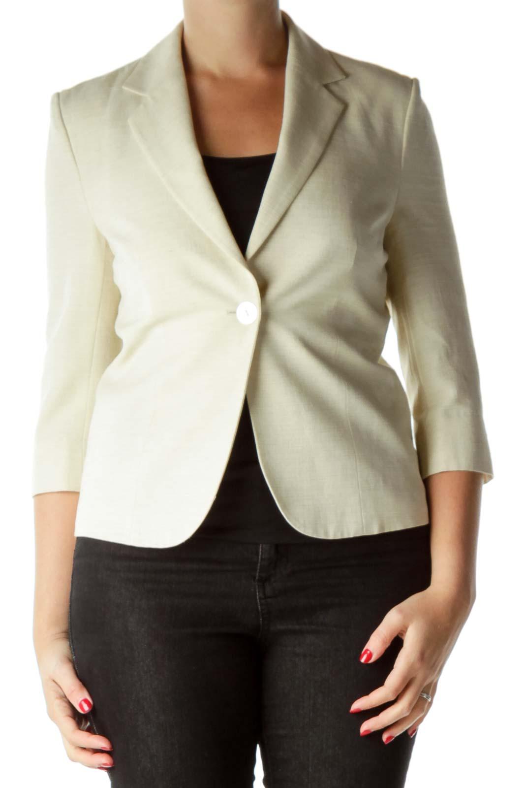 Cream Textured 3/4 Sleeve Jacket