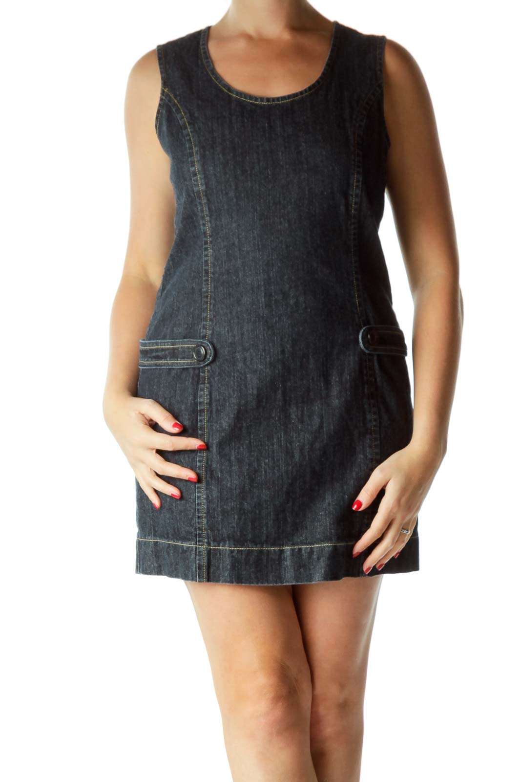 Blue Sleeveless Denim Dress
