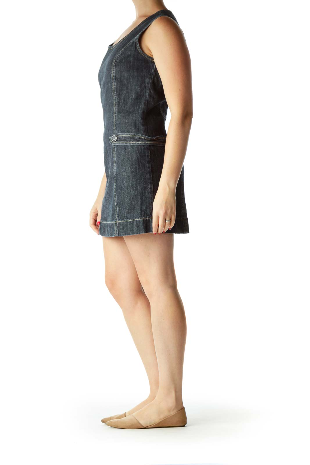 Blue Sleeveless Denim Dress