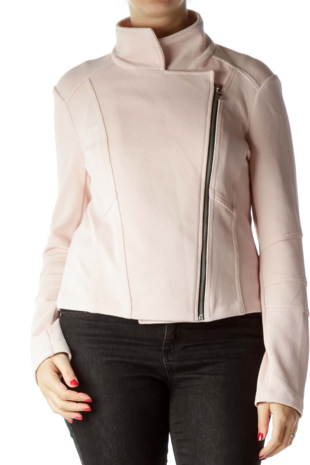 Pink Textured Zipper down Jacket