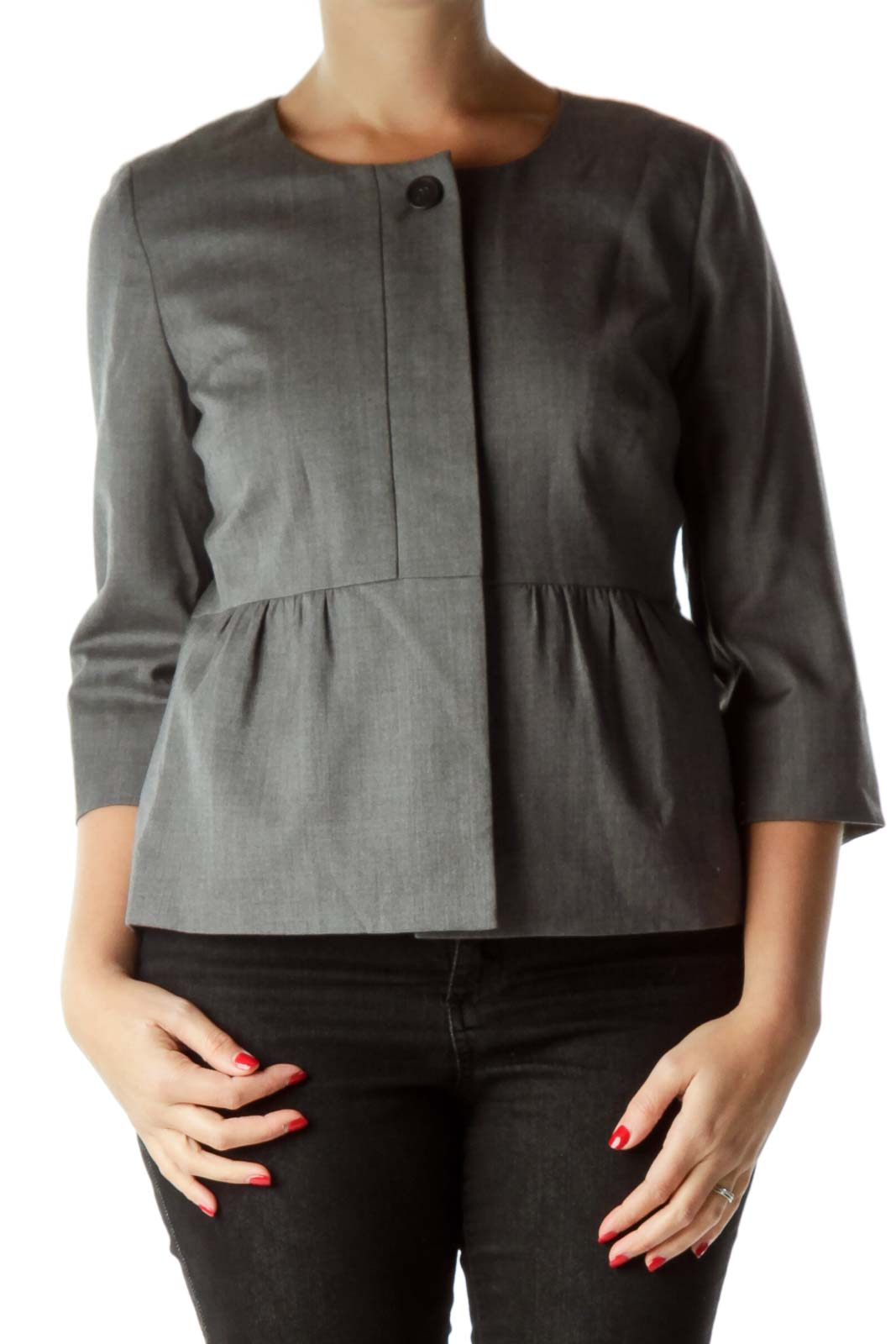 Gray Wool Cropped Jacket