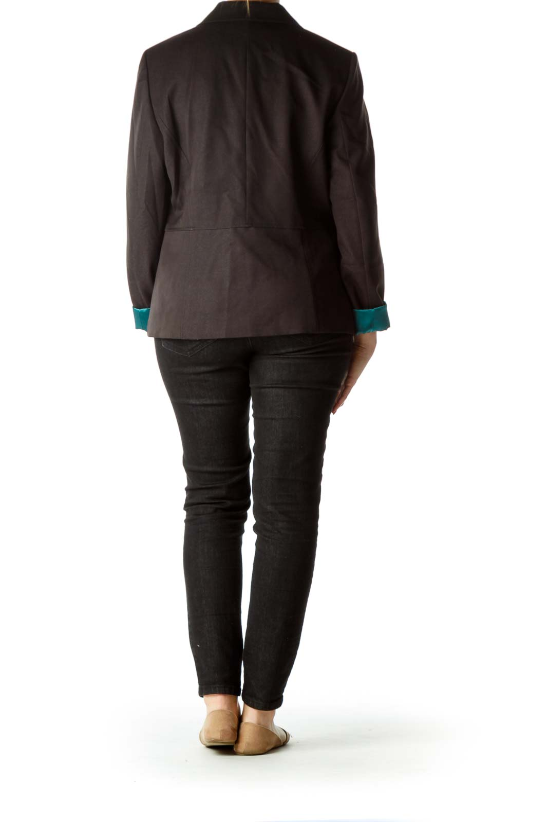 Black Suit Jacket with Teal Lining