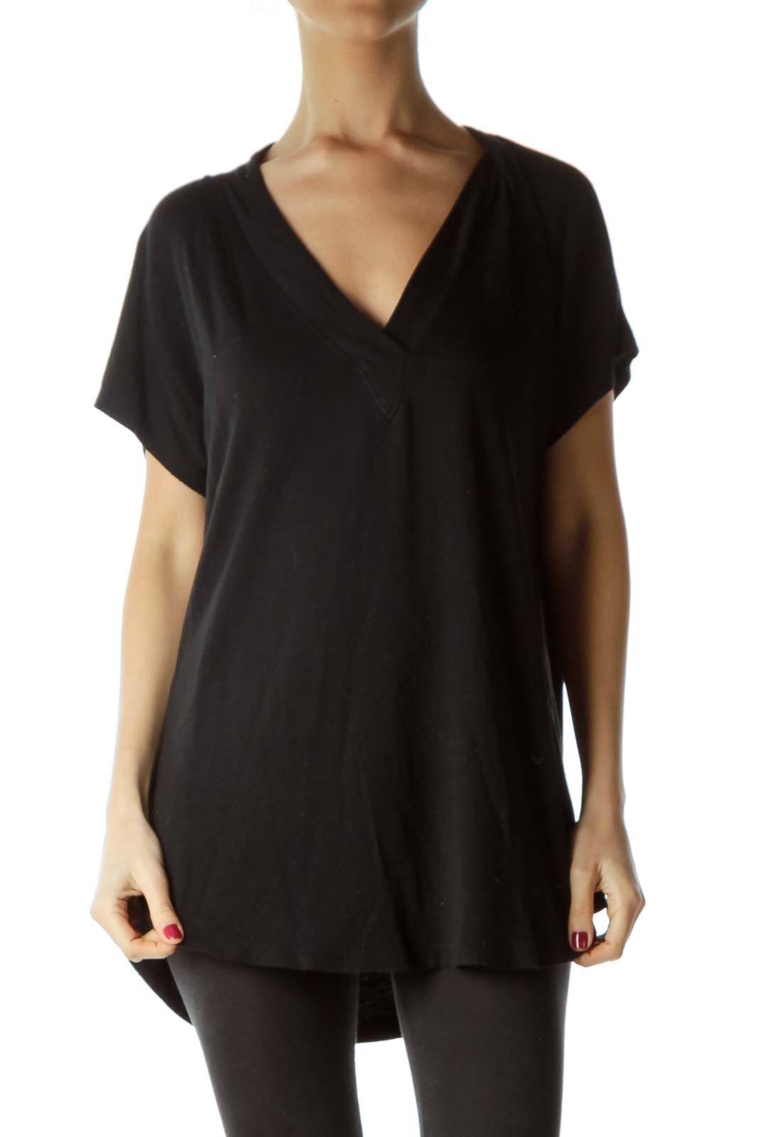 Black V-Neck Knit Jersey Top