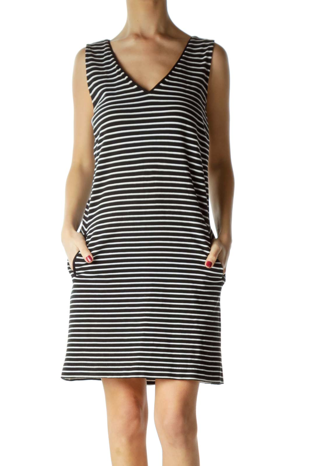 Navy Striped Pocketed Knit Dress