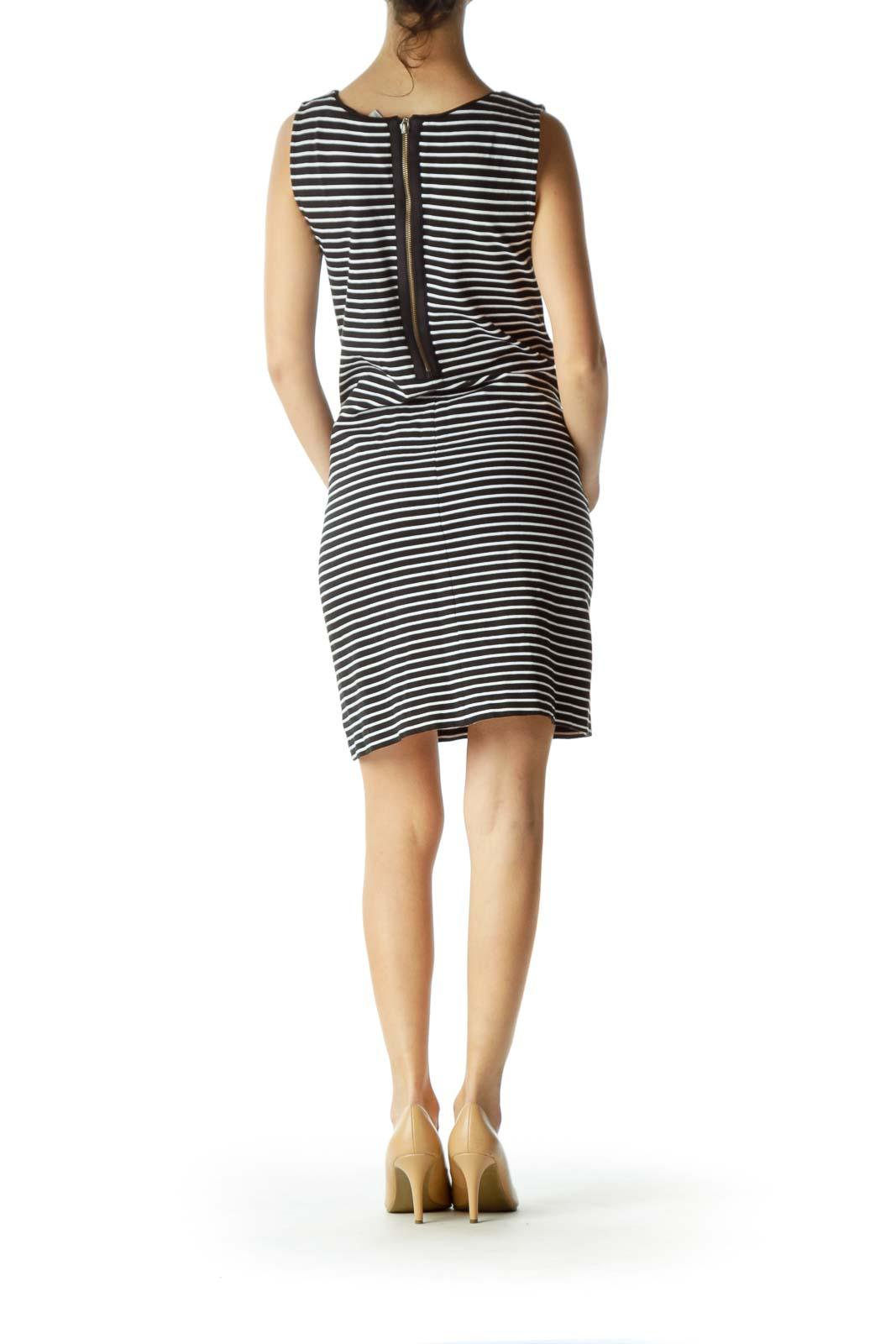 Navy Striped Pocketed Knit Dress