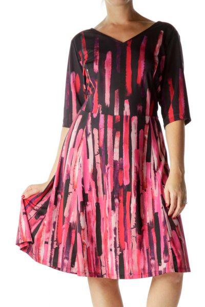 Pink Printed V-Neck Day Dress