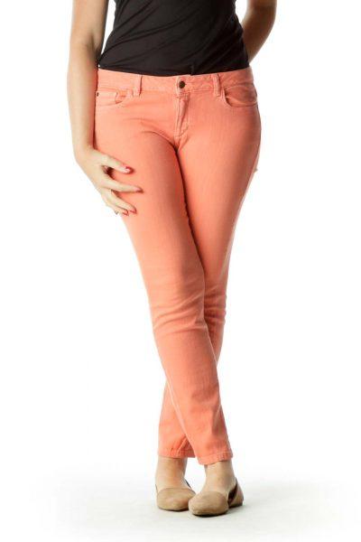 Orange Stretchy Slim-Fit Pants