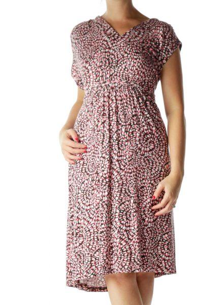 Pink Printed Empire Waist Jersey Dress