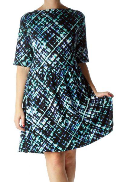 Blue Print A-Line Dress