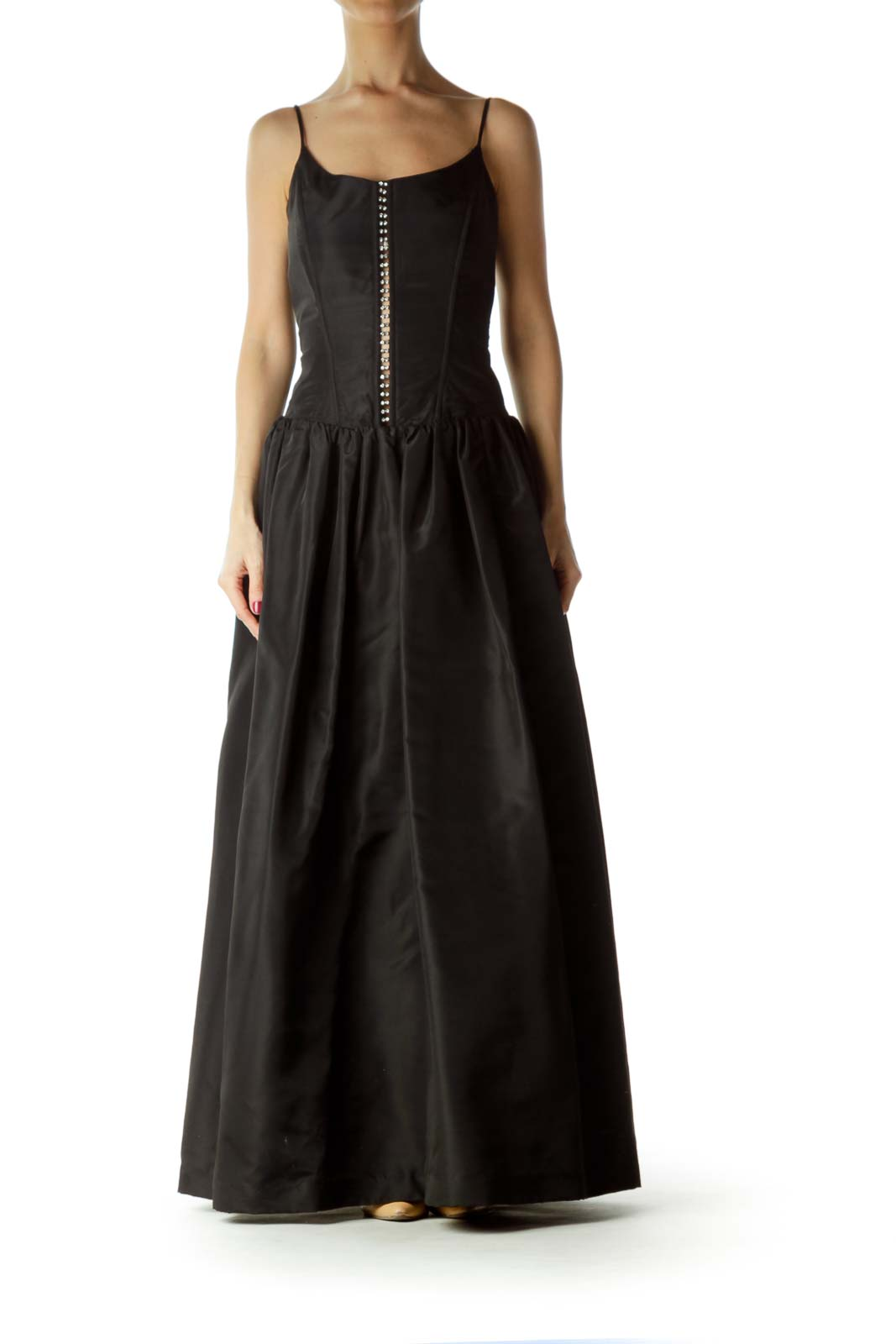 Black Spaghetti Strap Ball Gown