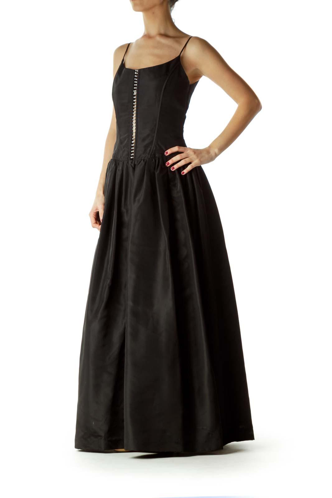 Black Spaghetti Strap Ball Gown