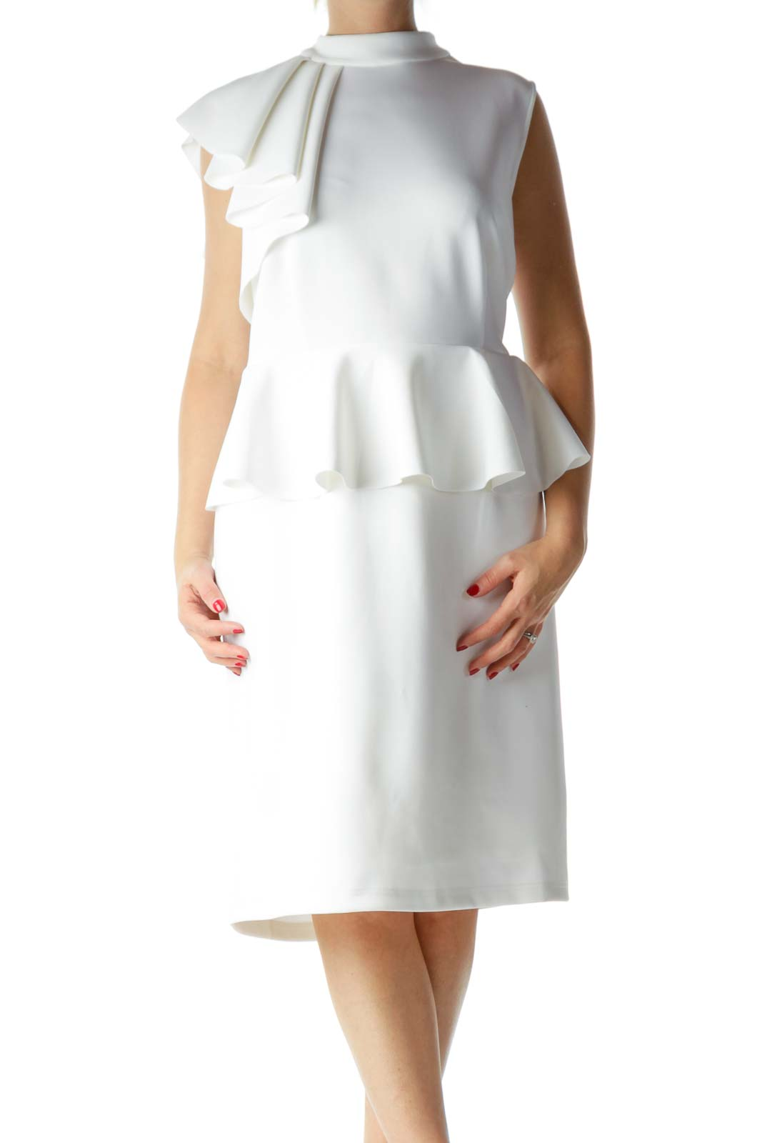 White Sleeveless High Neck Cocktail Dress