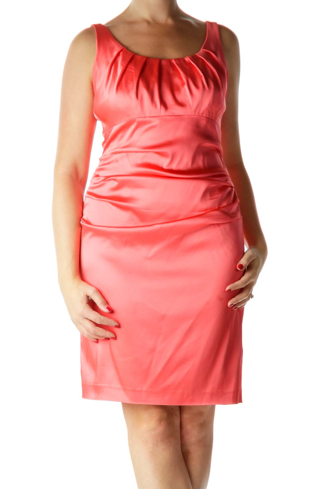 Pink Round Neck Satin Sheath Dress