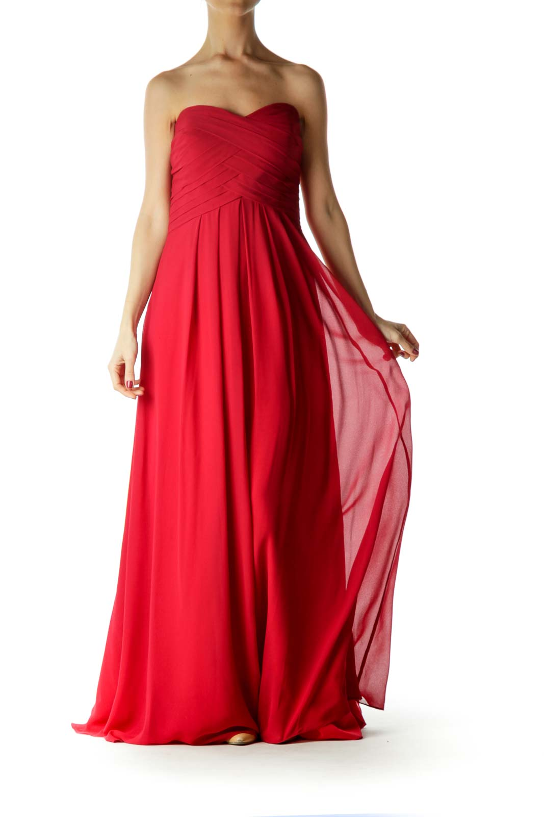 Red Sweetheart Neckline Evening Dress