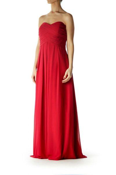 Red Sweetheart Neckline Evening Dress