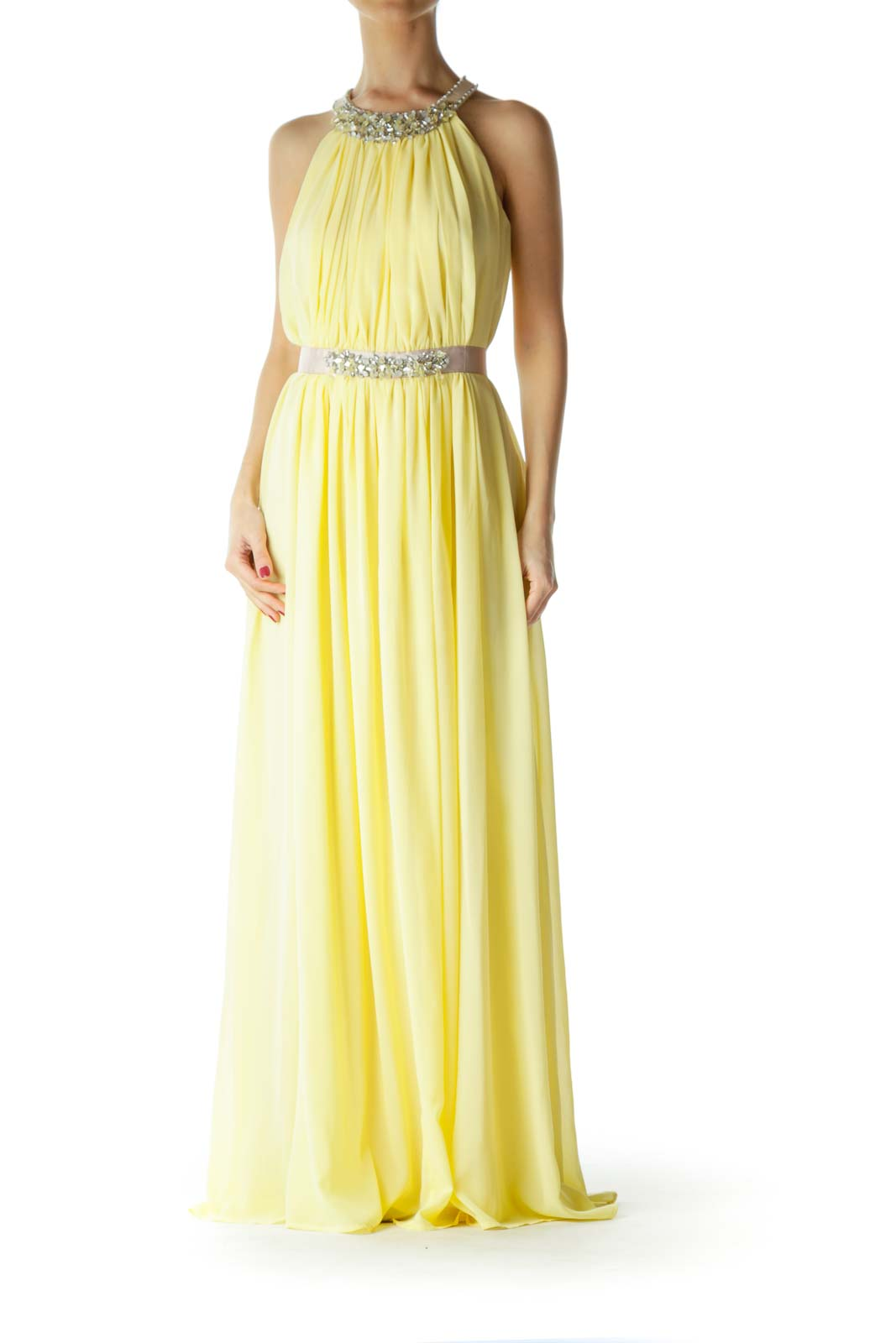 Yellow Beige Beaded Evening Dress