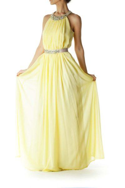 Yellow Beige Beaded Evening Dress