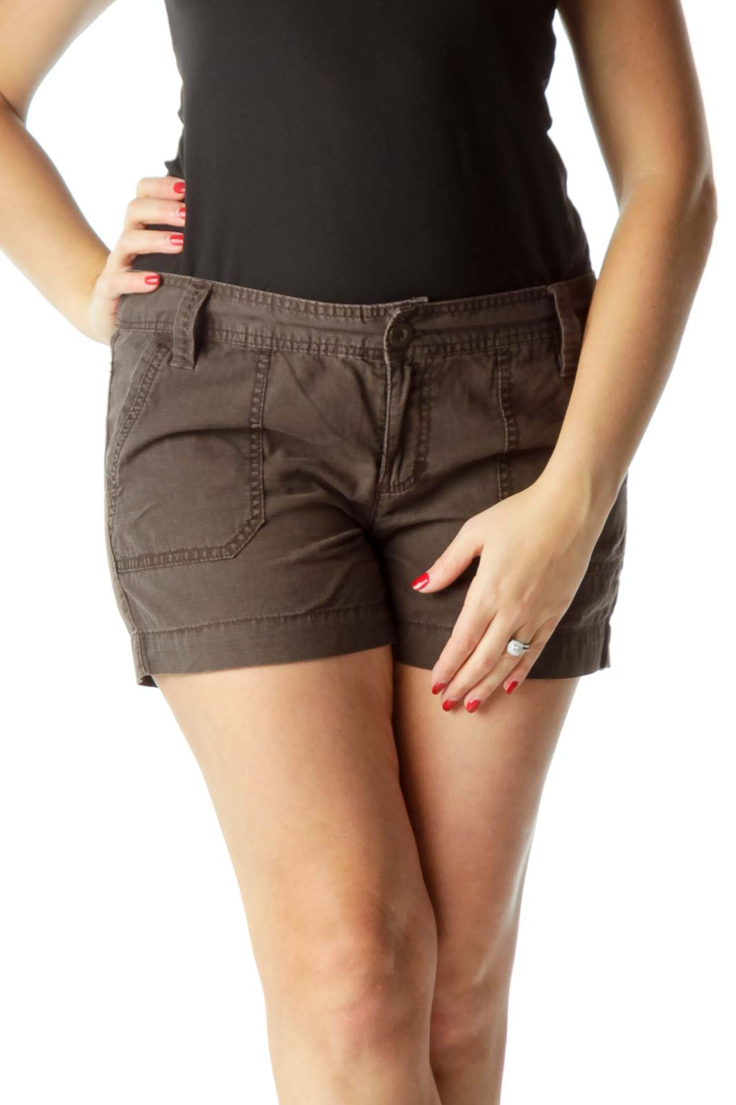 Brown Pocketed Shorts