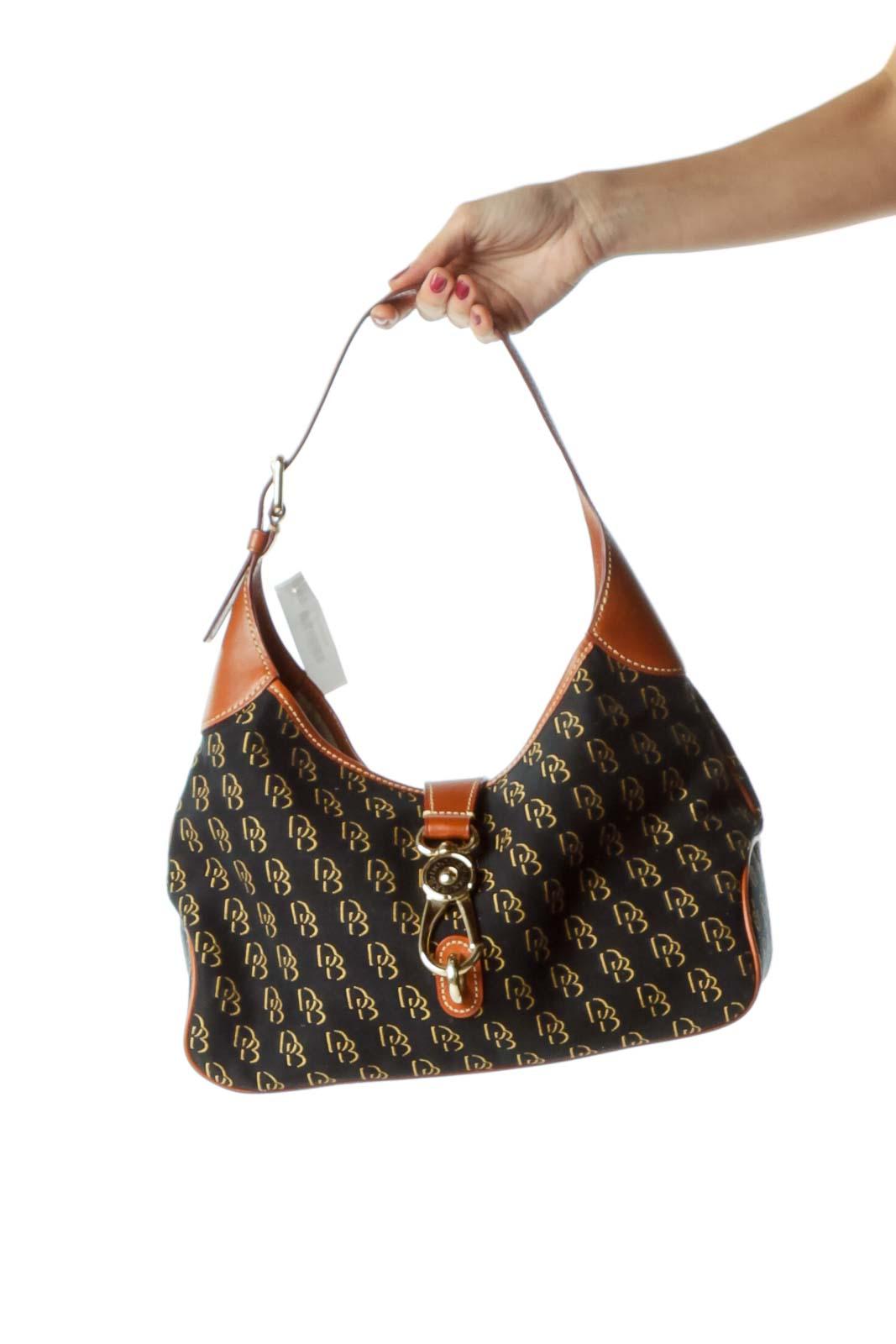 Black Brown Monogrammed Shoulder Bag