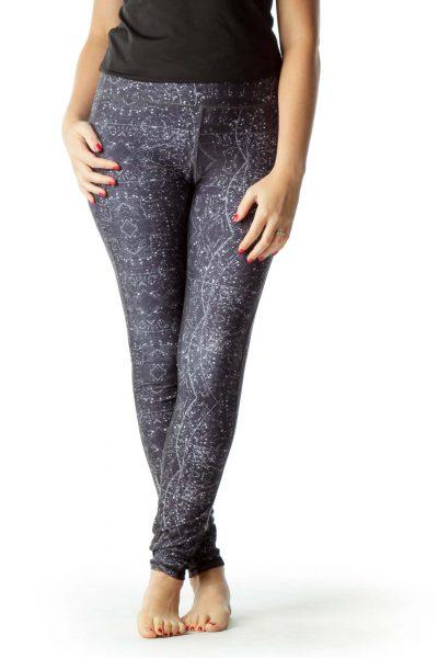 Gray White Print Yoga Pants
