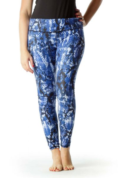 Blue Black Snake Skin Print Yoga Pants
