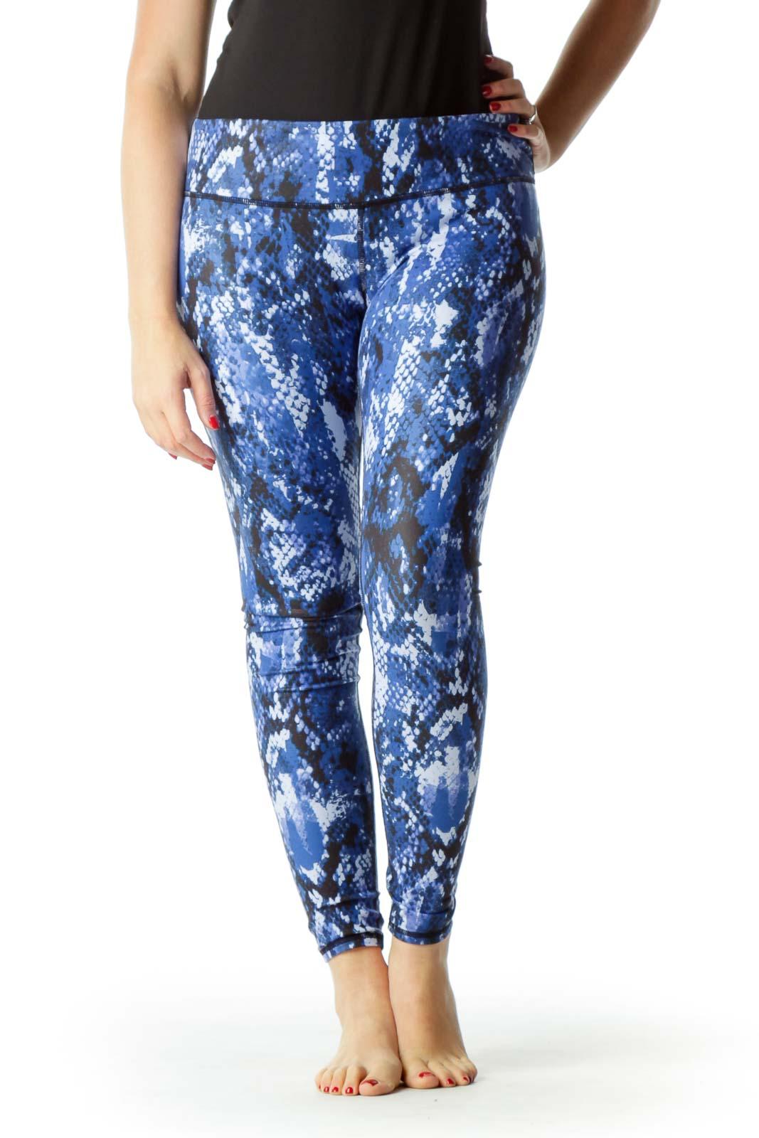 Blue Black Snake Skin Print Yoga Pants