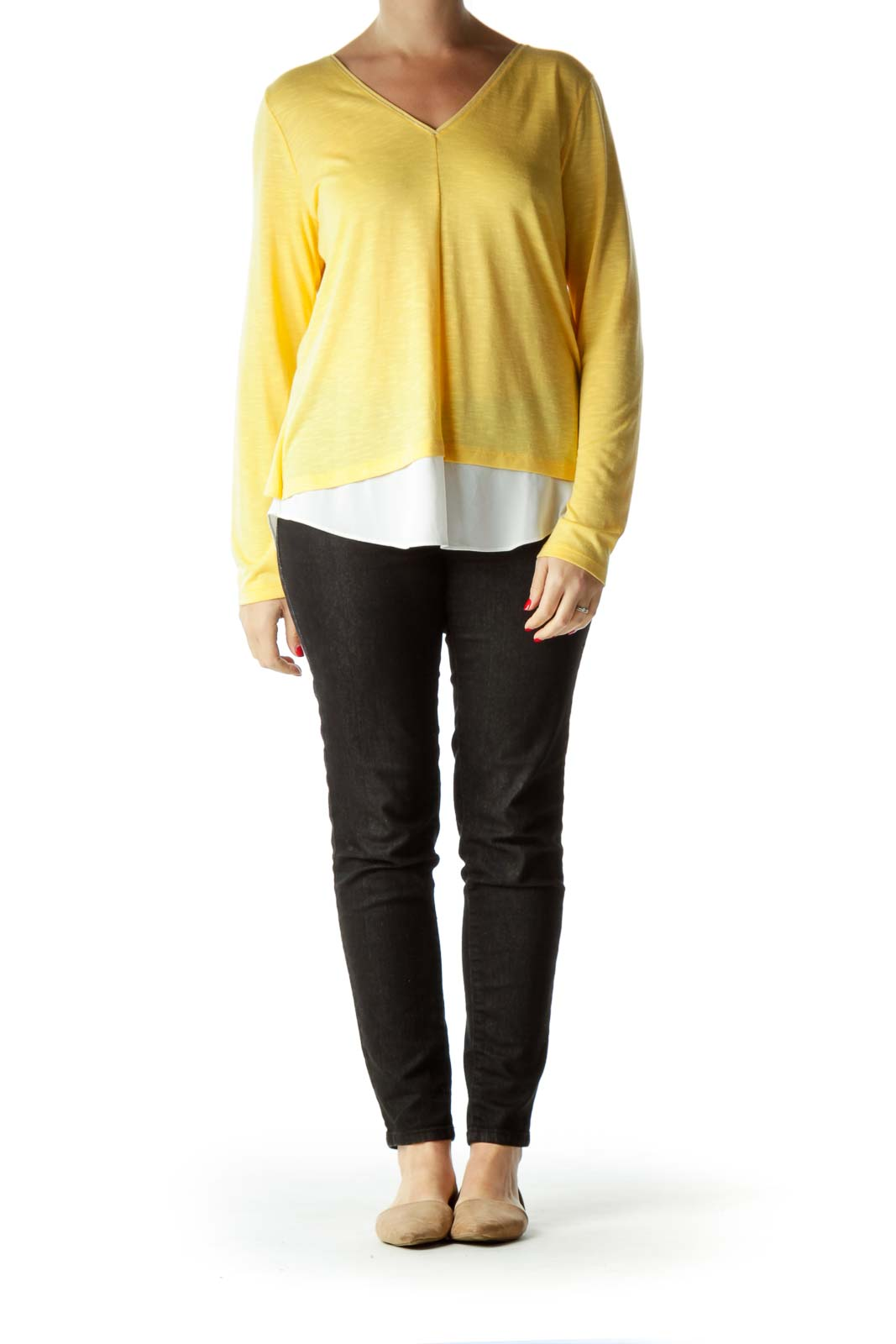 Yellow White Metallic Detail V-Neck Blouse