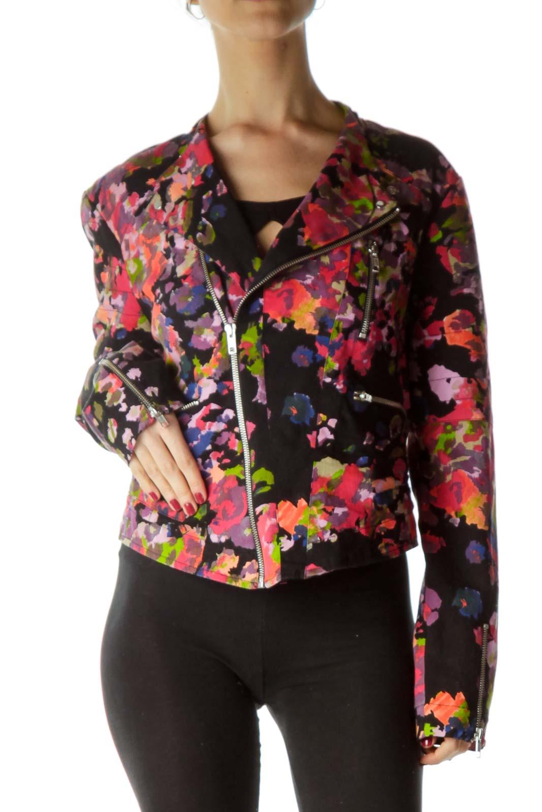 Multicolor Paint Print Bomber Jacket