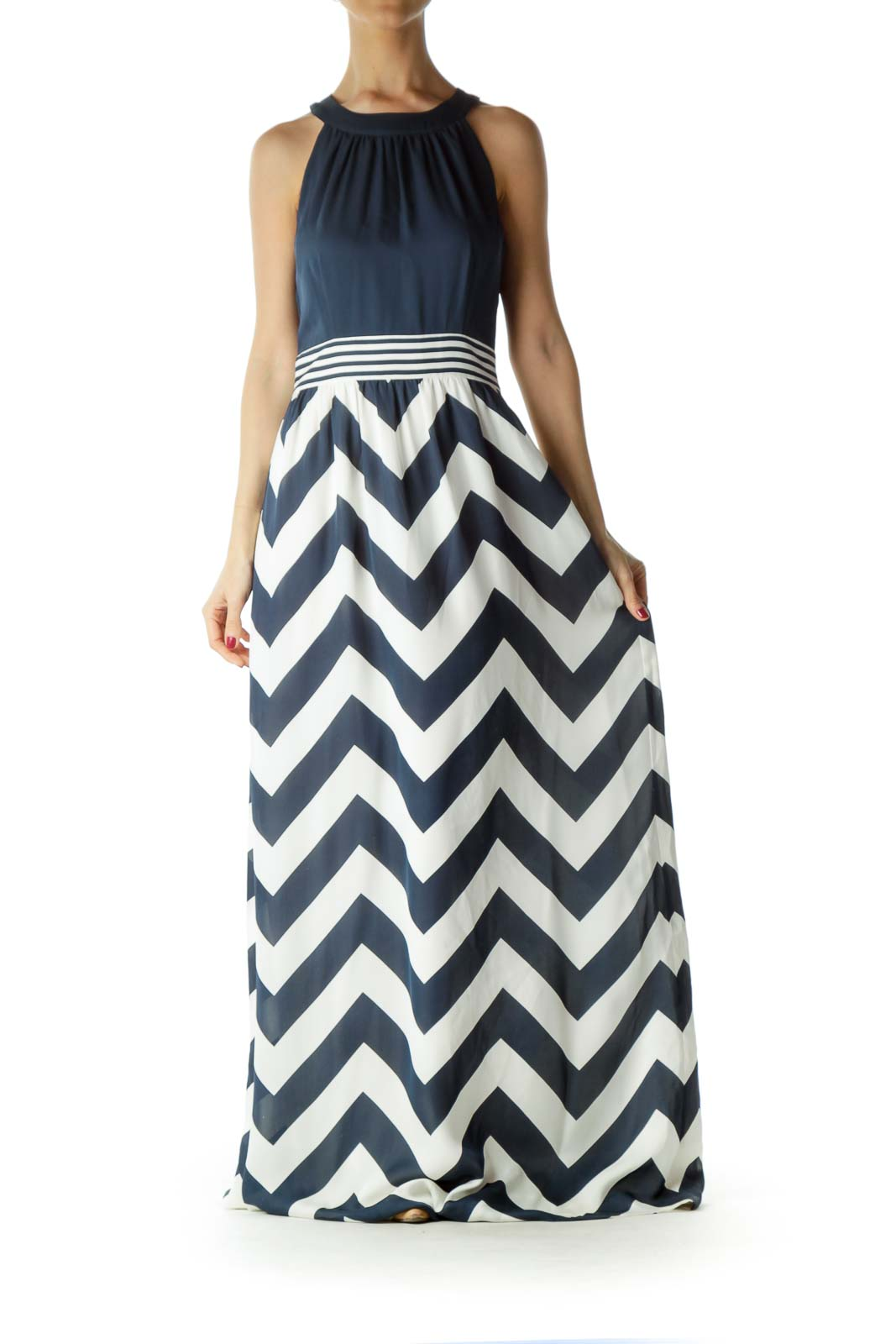 Navy Cream Chevron Print Maxi Dress