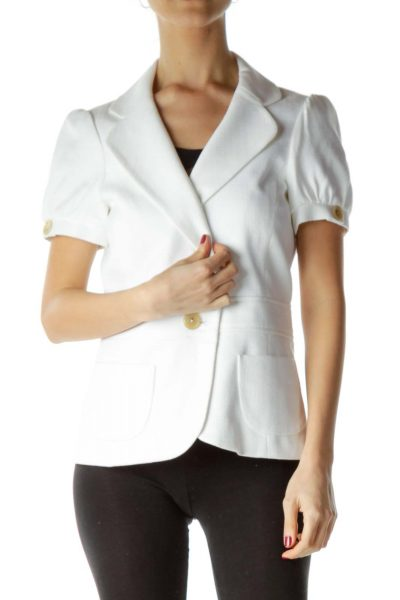 White Short Sleeve Pocketed Blazer