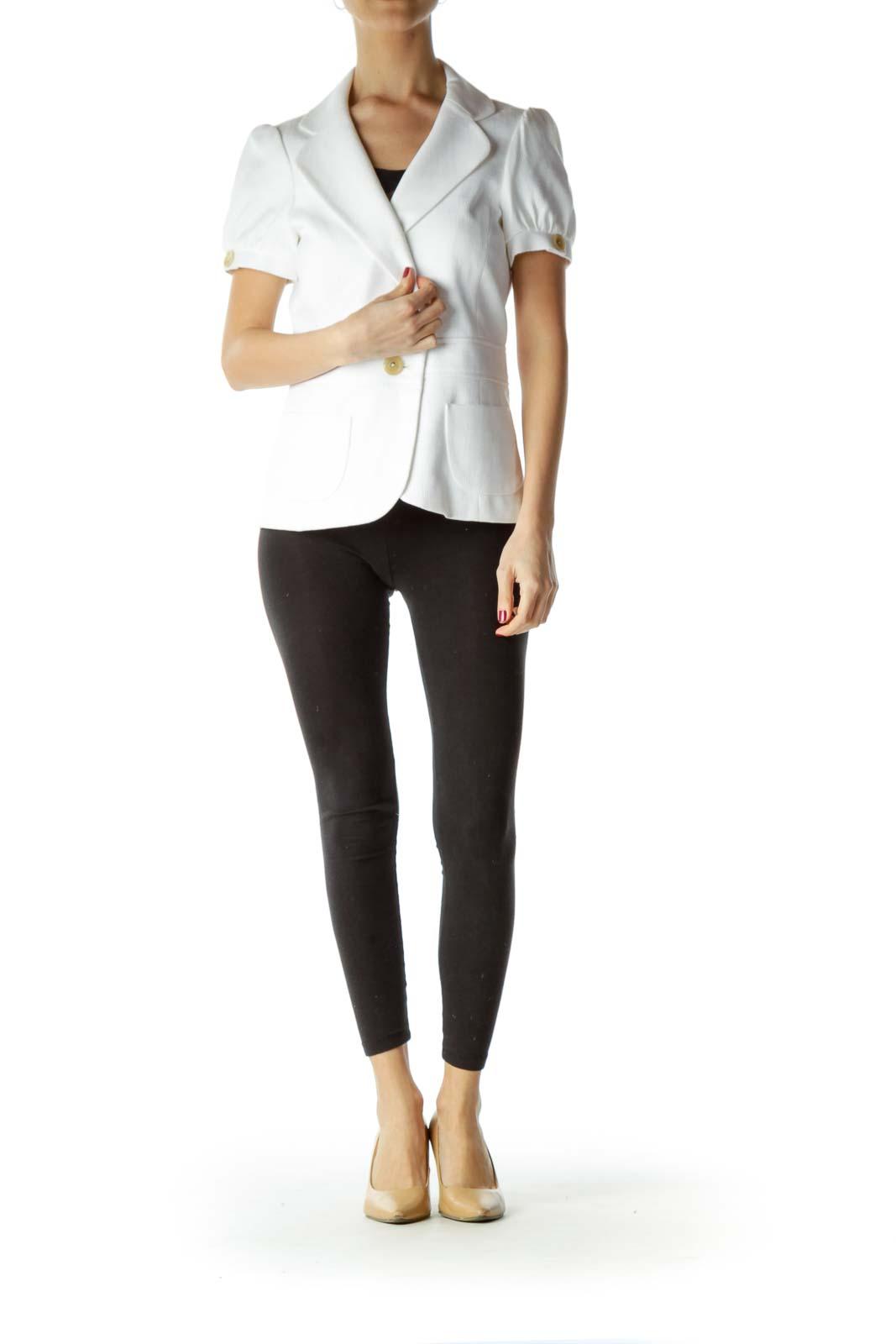 White Short Sleeve Pocketed Blazer