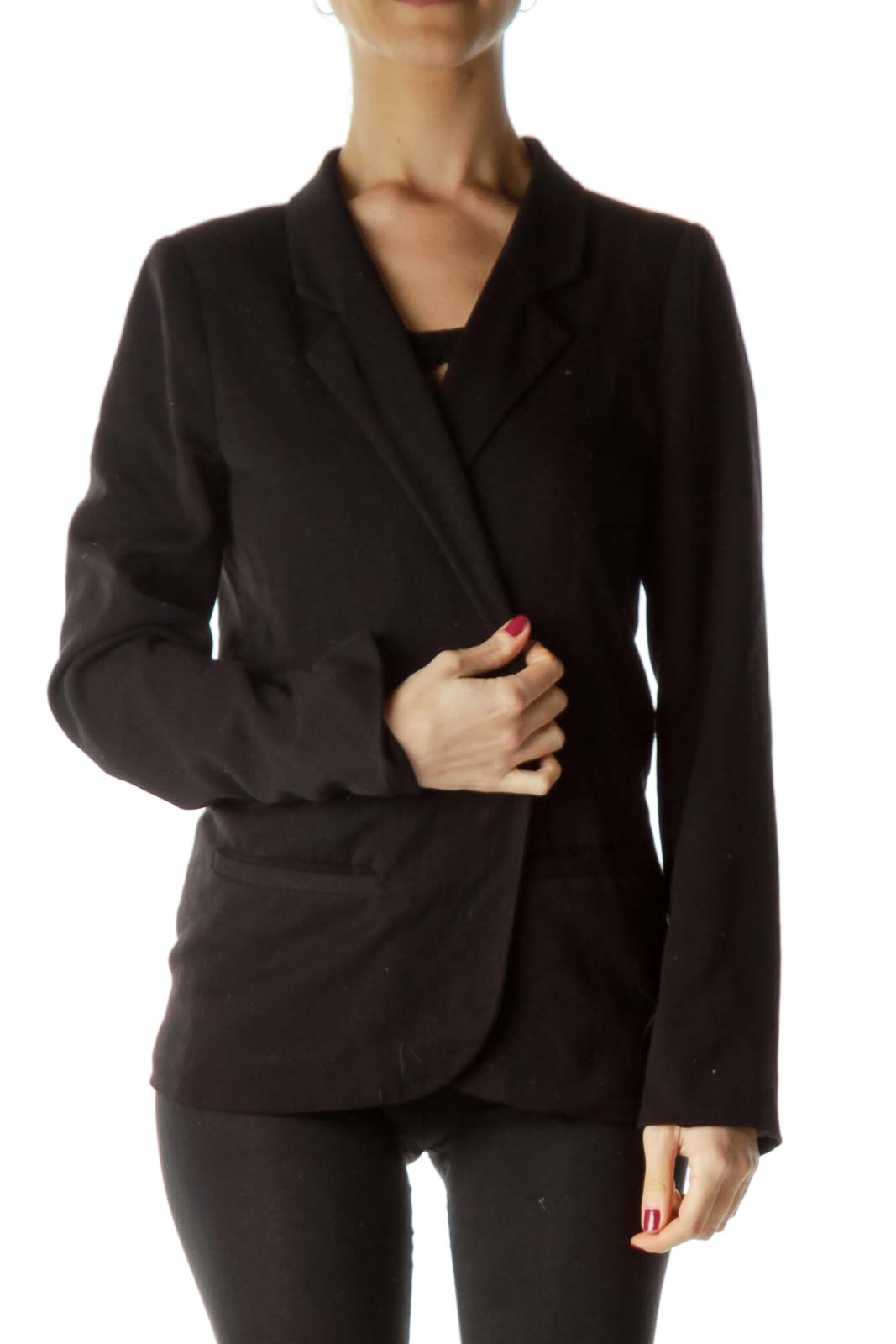 Black Pocketed Open Blazer