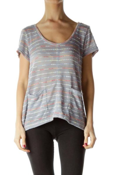 Gray Round Neck Short Sleeve Striped Top