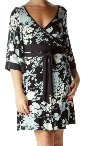 Black Blue Floral Bell Sleeve Wrap Dress