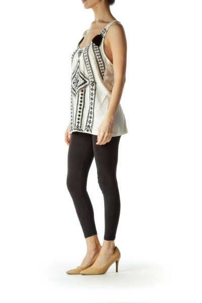 Cream Beaded Tank with Tassles
