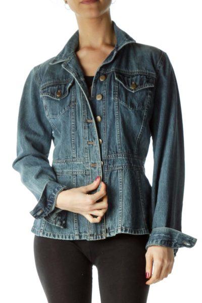 Blue Pocketed Denim Jacket