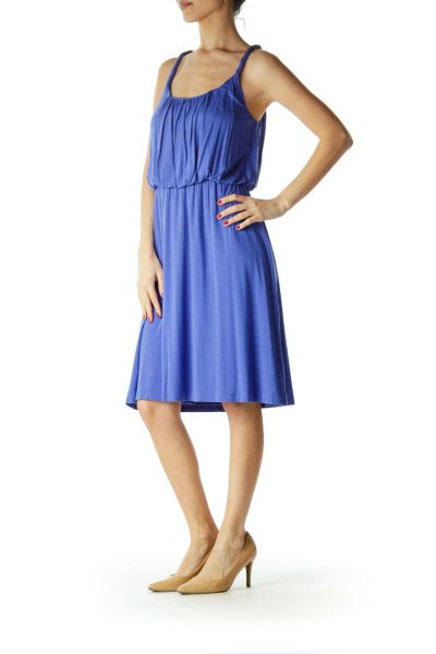 Blue Tank Dress with Cinched Waist
