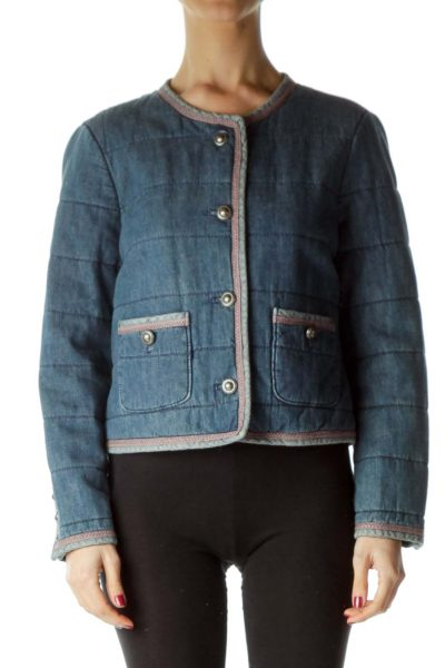 Blue Denim Pocketed Jacket with Pink Trim