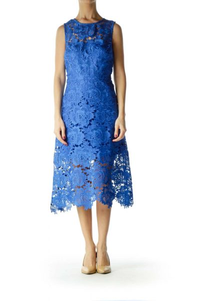 Blue Lace Sleeveless Midi Dress