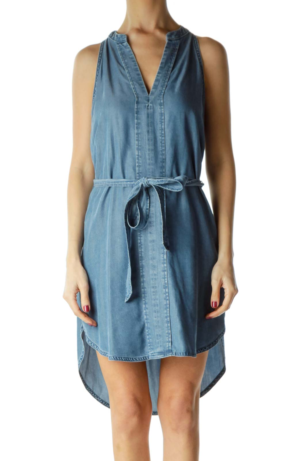 Blue Racerback Denim Dress with Tie