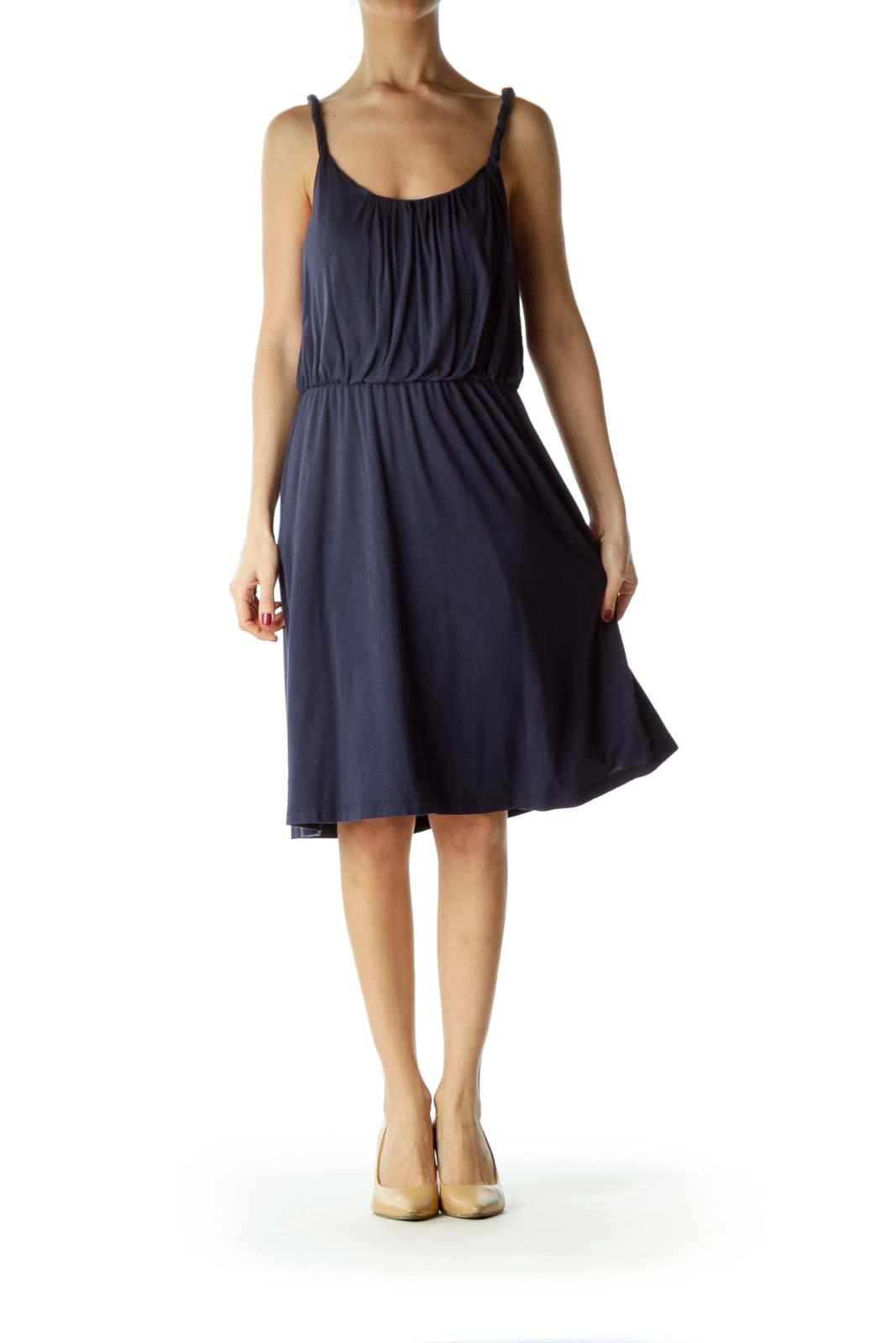 Navy Round Neck Cinched Waist Jersey Dress