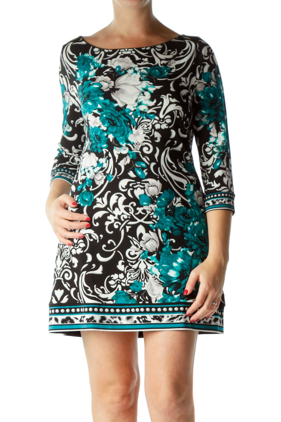 Black Green Floral Printed Shift Dress